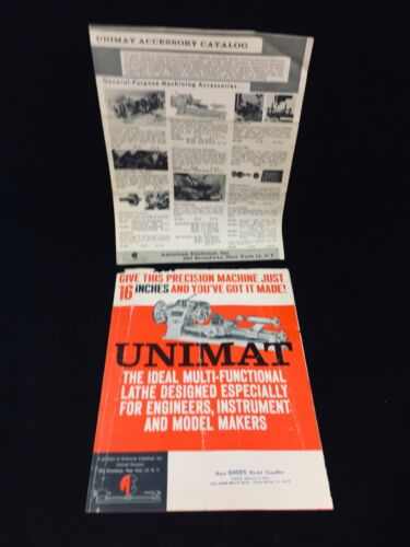 1959 EDELSTAAL UNIMAT MINIATURE LATHE SALES BROCHURE + 1964 ACCESSORY CATALOG