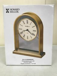 "NEW In Box Howard Miller Reminisce Table Clock 613-118 Brass 7.25"" Quartz Shelf"