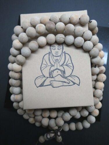 """Fragrant  White Wood Yoga Meditation Prayer Beads Mala Necklace 32"""" With Box"""