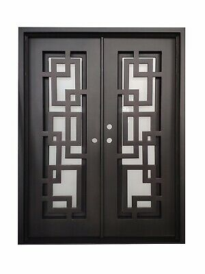 "Baytown Double Front Entry Wrought Iron Door Frost Glass 61"" x 81"" Right Active"