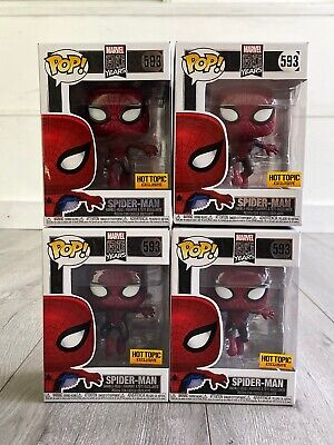FUNKO POP! Marvel SPIDER-MAN #593 HOT TOPIC Metallic Spiderman + .5mm Protector