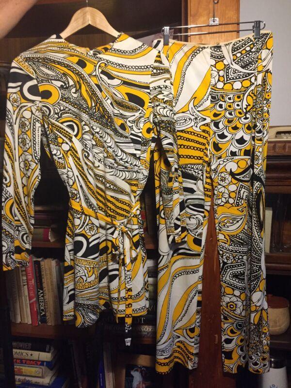 Vintage Women 1960s Anika Psychedelic Colorful Retro Mod Wide leg pant suit Sz M