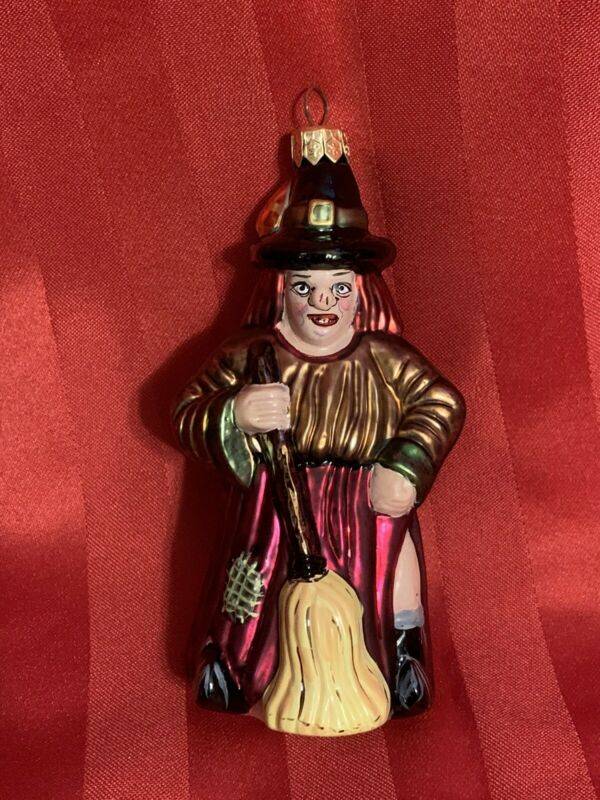 Vintage Painted Mercury Glass Halloween Witch w Broom Ornament 6.5""