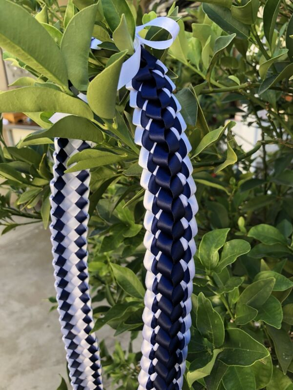 Navy Blue & White Ribbon Double Ribbon Graduation Lei (Custom orders available)
