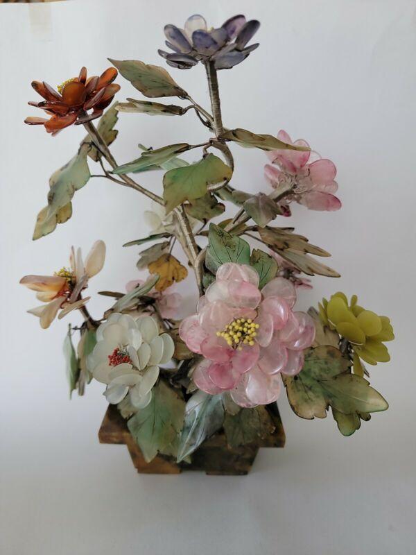 """Vintage Large Jade Agate Rose Quartz Stone 12""""T  Blossom Bonsai Tree"""
