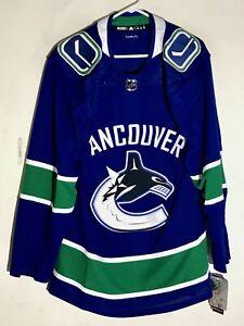 da5923fe6d5 adidas Authentic Adizero NHL Jersey Vancouver Canucks Team Blue sz 56