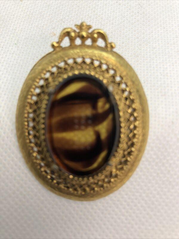 "Vintage 1950s Goldtone Faux Tortoise Glass Pin Brooch 2"" Signed Florenza Lovely"