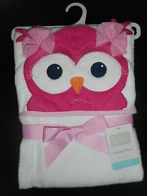 'HUDSON BABY' USA 100% Cotton Terry HOODED TOWEL, Owl Design, NEW with TAG.