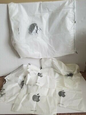 Lot Of 6 - Apple Store Plastic Drawstring Shopping Bags - 3 Small 2 Med 1 Large