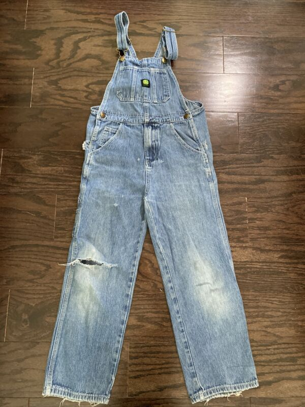 Vintage John Deere Work Farm Hipster Distressed Bib Overalls Youth Size 10