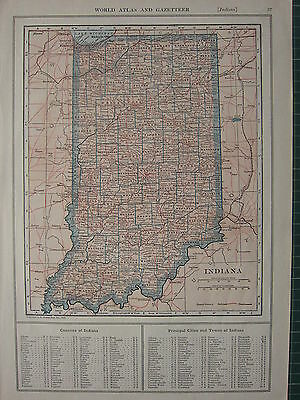 1926 MAP ~ INDIANA COUNTIES PRINCIPAL CITIES FRANKLIN CLAY CLARK WELLS WARRICK