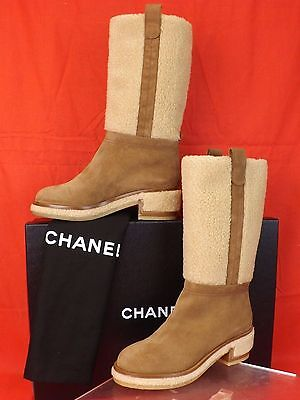 NIB CHANEL BROWN  BEIGE SUEDE FAUX SHEARLING CC LOGO KNEE HIGH BOOTS 39.5 $1525