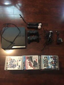 PS3 plus games, rockband and racing wheel with pedals
