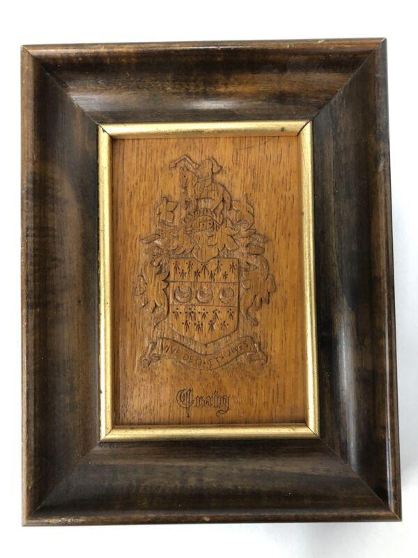 """""""Craig"""" Family Crest Carved Wood Vintage 1963"""