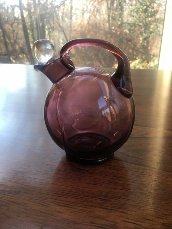 Mid Century Modern Art Glass Purple Amethyst Cruet with Stopper