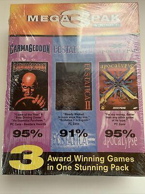 Factory Sealed! 1998 Mega 3 Pak Volume 1 Carmageddon, Ecstatica 2, X-Com...