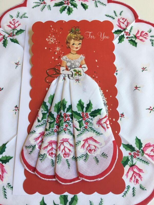Darling New Christmas Miss Hankie Card - Mailable Handkerchief Keepsake