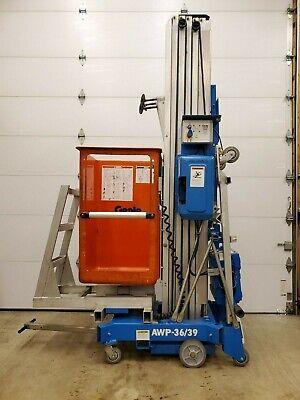Genie Awp 3639 Man Lift 39 Deck 45 Work Hgt 12v Push Around Basket Lift
