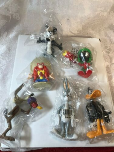 1990s Six Flags Looney Tunes Figures in original wrappings, theme park bag