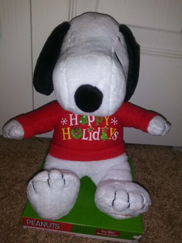 """Snoopy Peanuts 9"""" Musical Christmas Plush Stuffed Toy, New With Tags"""
