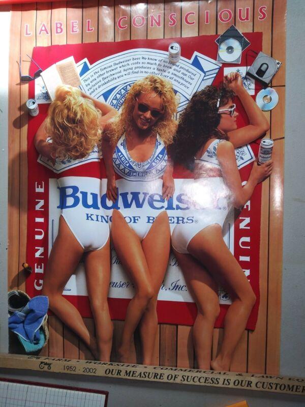 Vintage Budweiser Girls Poster Label Conscious 1987  20x28