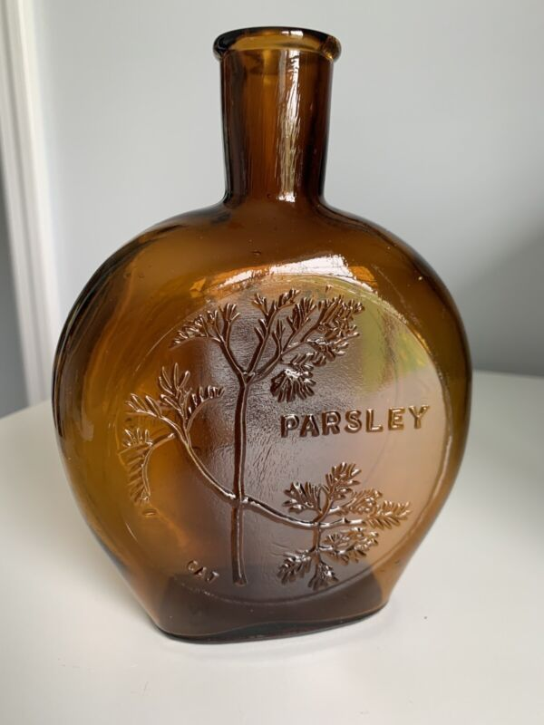 Scarce Vintage Parsley Herb Of The Month Clevenger Bros Embossed Bottle 6 Of 12