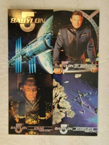 Mint UNCUT FLEER ULTRA PROMO 4-Card Sheet: BABYLON 5 (Silver Foil Stamped) 1995