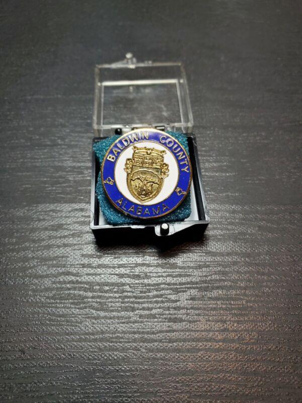 """Baldwin County Alabama Vintage Collectible Lapel Pin - 7/8"""" Dia."""