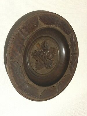 LARGE VINTAGE HAND CARVED WOODEN DISH / HEAVY WOOD BOWL PLATTER TRAY TREEN