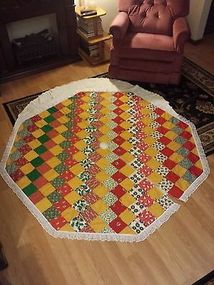 vtg Christmas tree skirt octagon shape large 65in. x 65in. patch work handmade