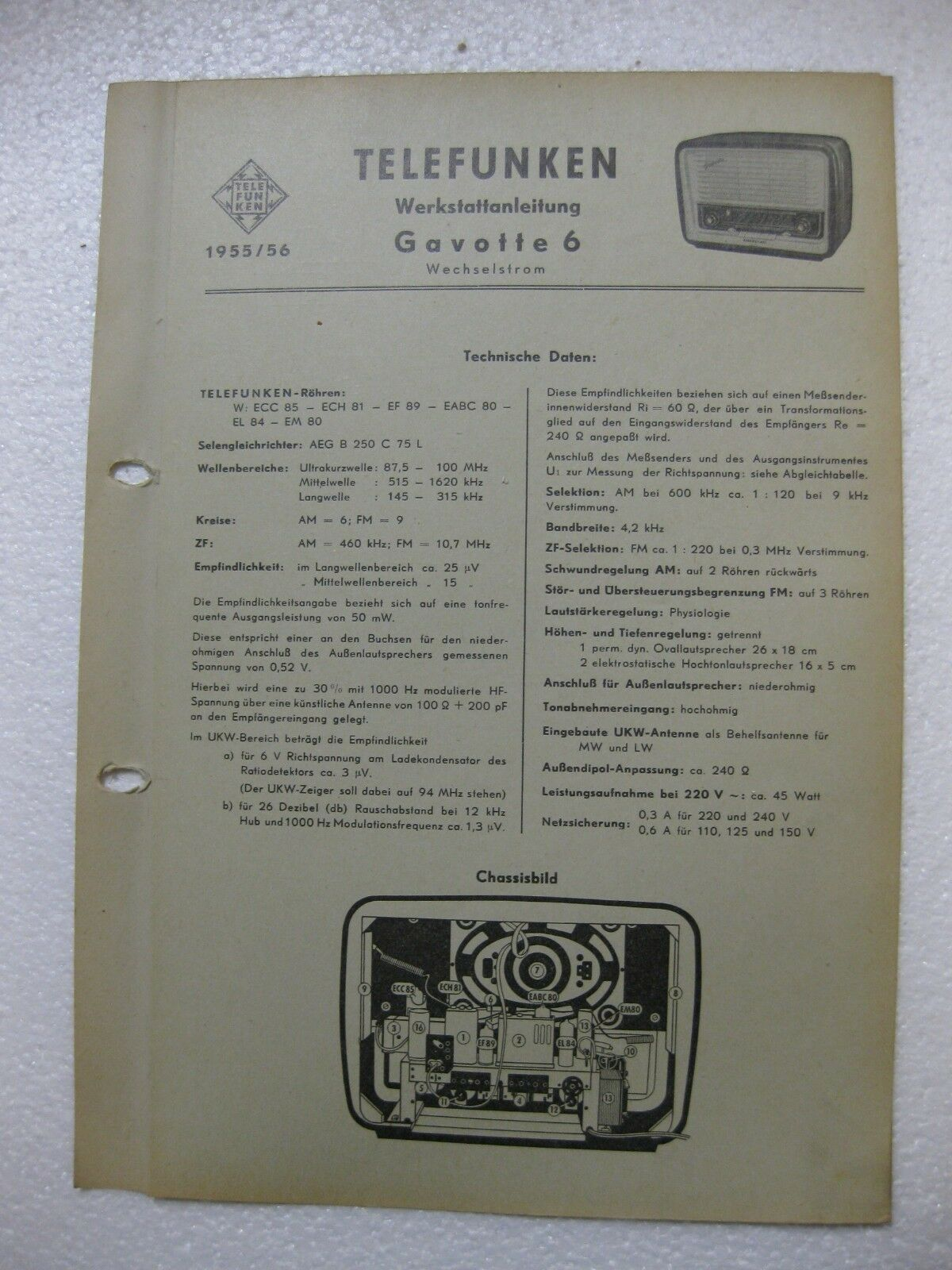 TELEFUNKEN Gavotte 6 Wechselstrom  Schaltplan  Original 1955/56