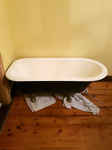 Claw foot bath - cast iron and brass Rosewater Port Adelaide Area Preview