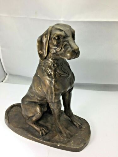 Vintage Bronze Dog Sculpture Statue