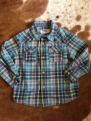 (OshKosh Boys Dress Shirt size 5 Long sleeve Plaid Green Blue Genuine Kids)