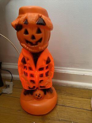 Vintage Halloween Tabletop Pumpkin Scarecrow Hobo Blowmold Rare