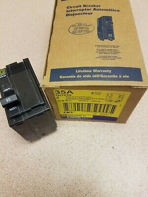 1 New Square D Qo235 2 Pole 35 Amp 120240v Yellow Face Circuit Breaker