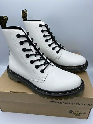 White Leather Ankle Combat BOOTS X4-939