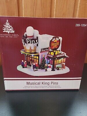"""9"""" Prelit LED King Pins Bowling Musical Fun Christmas Village Lighted Building"""