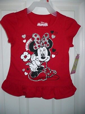 Minnie Mouse Toddler Girl Ruffle Hem Tee Shirt Red Size 3T NEW