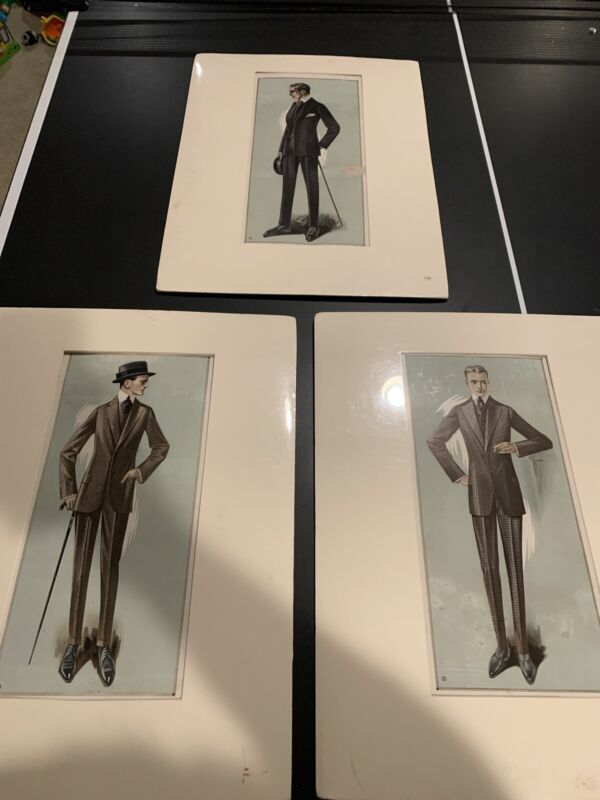 Early 1900's Clothing Catalog Mens Suits Large Color Illustration Lot Of 3