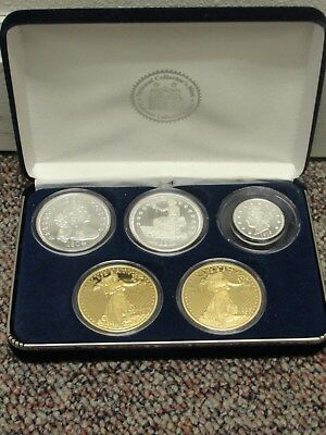 5 Piece National Collectors Mint Fantasy Proof Coin Set Silver And Gold Clad