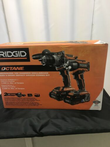 NEW Ridgid 18V OCTANE Lithium-Ion Cordless Brushless Combo K