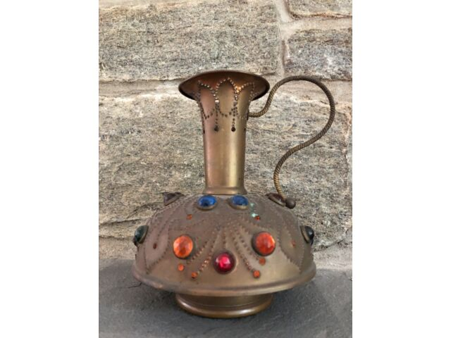 Vintage Victorian Brass Jeweled Ewer Fairy Finger Lamp Candle Holder