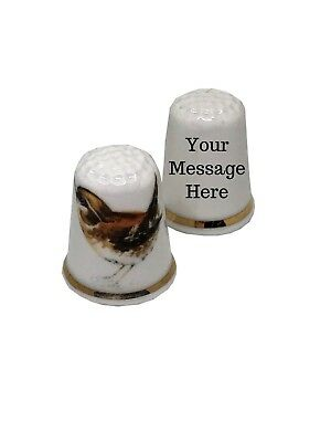 BN Personalised Jenny Wren Thimble, Fine Bone China Bird Thimble, Naming Gift