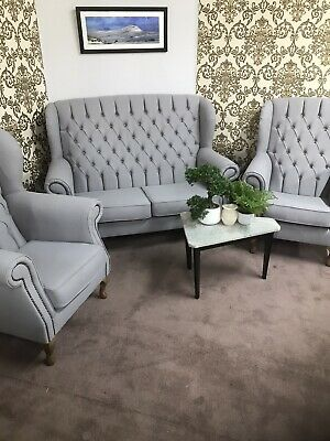 Chesterfield New Queen Anne set high back wing sofa and chair(free delivery*)