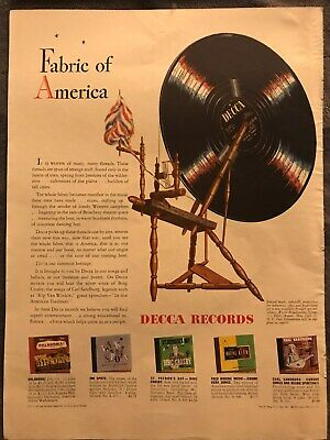 Decca Records ~ Fabric Of AmericaSelected Music ~ 1947 Vintage Print AD B23