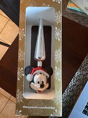 """New Disney Store Parks Santa Mickey Glass Christmas Tree Topper 13"""""""