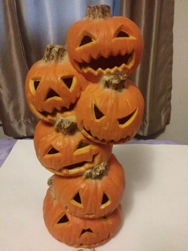 """Vintage Halloween Trendmasters 1993 Jack O Lantern Stack 18"""" Tall Lighted Works"""