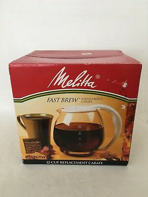 NOS Melitta Fast Brew 12 Cup Glass Carafe Replacement Model MEFBCFB, MEFBCFW