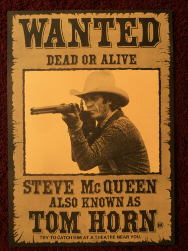 Tom Horn 1980 Wanted Style International Poster Steve McQueen, Linda Evans